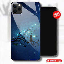Night Cat in a Tree aurora Sky Glass Phone Case Samsung Huawei iPhone Xiaomi