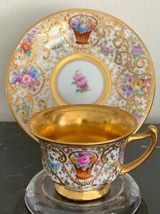 Antique Ambrosius Lamm Dresden Porcelain Gold Gilt Decorated Demitasse