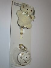 CARTER'S TEDDY BEAR  PACIFIER & PACIFIER CLIP CUTE AND CUDDLY NEW