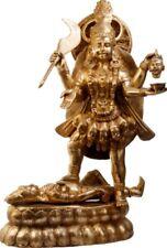 "Large KALI Mama Mother God Jai Hindu Statue 32.2"" Golden Brass Figure Art 40 KG"