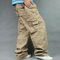 Hip Hop Loose Baggy Cotton Trousers Men's Cargo Pants Multi Pockets Overalls New