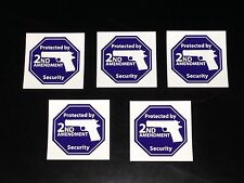 5 Vinyl Stickers - Protected By 2nd Amendment Security - 3x3