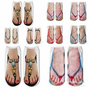 Flip Flop Socks Pairs Ladies / Girls Low Ankle Socks Novelty Xmas Secret Santa