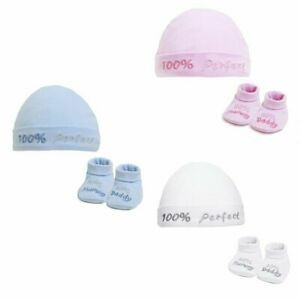 Newborn Baby 100% Perfect Hat Bootee Gift Set Boy Girl Booties 0-3 Months