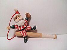 Santa Clause Pin Stripes On Baseball Bat Christmas Tree Ornament
