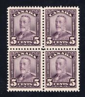 Canada 1928 Sc #153 5c deep violet KGV Scroll Issue BLOCK of 4 VF NH