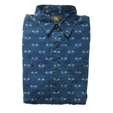 RRL Ralph Lauren Slim Fit Indigo Cotton Print Shirt Wells Flag RRP $260 REDUCED!