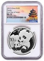 2019 China 30 g Silver Panda ¥10 Coin NGC MS70 FDI Temple Label SKU56056