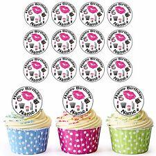 Make-Up Cosmetics 24 Personalised Pre-Cut Edible Cupcake Toppers Girls Daughter