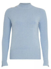 River Island Light Blue Fittedhigh Neck Knitted Top Size 12,New W Tag