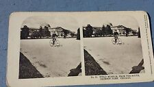 Antique Stereo View Card Field Museum Jackson Park Chicago Man Riding Bicycle
