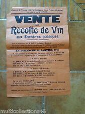AFFICHE - 130617- LANGON (Gironde) - Vente aux enchères d'une récolte de vin