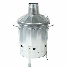 Mini Garden Incinerator Small Fire Bin Galvanised 15L Burning Wood Paper Letter