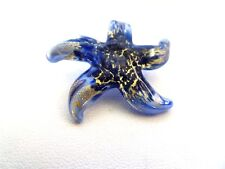 MURANO GLASS STAR FISH  PENDANT SWIRLED BLUE AND GOLD COLORS