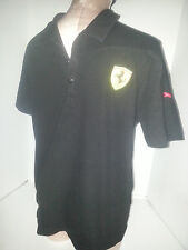 PUMA SCUDERIA FERRARI Mens Short Sleeve Polo Rugby Shirt Medium Black White Red