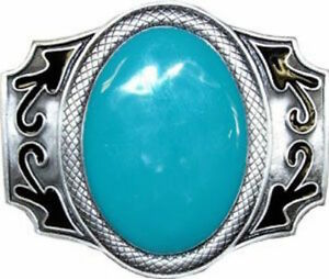 Western Indian American Large Oval Turquoise Metal Belt Buckle Southwest 019
