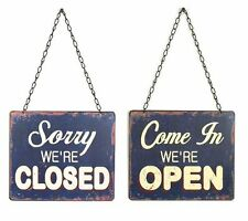 Creative Co-Op Tin Open and Closed Two-Sided Sign, Blue, Vintage Style, New