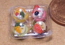 1:12 Scale 4 Assorted Cakes In Plastic Takeaway Box Dolls House Food Accessory D