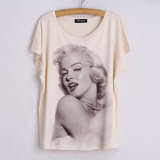 Women's 3D Marilyn Monroe Graphic Print loose Soft Casual T-Shirt Blouse Tops