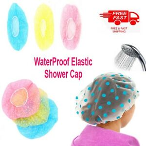 1/3x Elastic Waterproof Shower Cap Hat Bath Head Hair Cover Salon Shower Cap uk