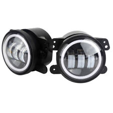 4inch 60W 6000LM LED Fog Lamp Light Kit with Halo White DRL + Amber Turn Signal