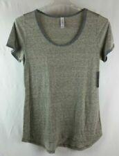 LuLaRoe Womens Small Classic T Tee Shirt Tunic Mossy Green/Gray Heathered White