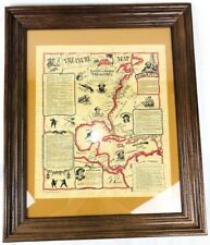 Framed Caribbean Poster Pirate Sunken & Buried Treasure Map Old Parchment Style