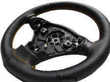 FITS CITROEN C1 MK1 05-13 REAL BLACK LEATHER STEERING WHEEL COVER GOLD STITCHING