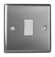 Varilight XTBPW Classic Brushed Steel 1 Gang 10A Retractive Light Switch