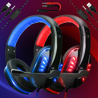 For PS4 Xbox One Nintendo Switch 3.5mm Wired Gaming Headset LED Headphone w/Mic