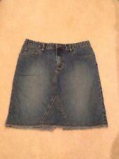 Aeropostale Denim Skirt 11/12 Knee Length Modest Straight Fringe Hem EUC