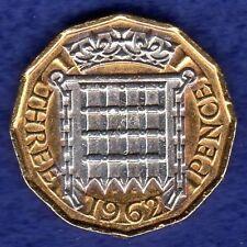 Gran Bretaña, 1962 oro plateado tres peniques con certificado (ref. t0503)