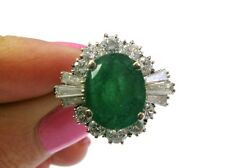 Fine Vintage 3CT Green Emerald and Diamond Ring WG 18KT
