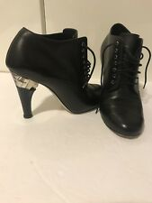 CHANEL 2015 ANKLE BOOTS PEARL LUCITE HEEL BLACK LEATHER LACE UP SIZE 37 US 7