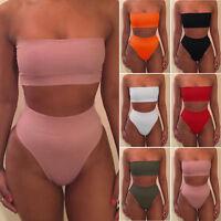 Women's Bikini Set Strapless Bathing Swimsuit High Waist Solid Color Swimwear 34