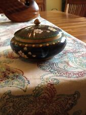 Vintage Chinese Cloisonne Round Covered Trinket Box w/ Birds & Flowers