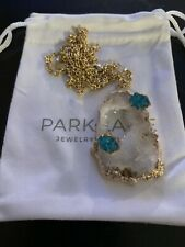 """Park Lane Fairydust Necklace and Hailee Earrings - Natural Agate Stones 27"""" + 4"""""""