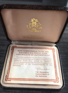 BAHAMAS SILVER Proof $10 DOLLARS 1978 Coin BOX CERTIFICATE