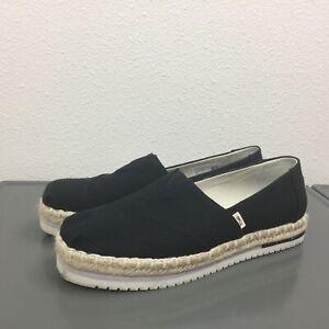 Women's Toms Black Canvas Fabric Flats Espadrilles Slip On Casual Shoes Size 7.5