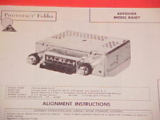 1962 AUTOVOX AM RADIO SERVICE MANUAL MODEL RA107 CHEVROLET FORD CHRYSLER DODGE