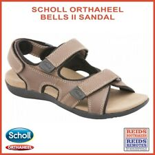 Scholl Orthaheel Bells II men's tan leather orthotic foot-bed 3 strap sandal