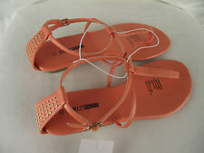 BNWT Ladies Sz 8 Pretty Orange Girl Xpress Gold Stud Detail Strappy Sandals