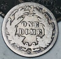 1891 O Seated Liberty Dime 10c High Grade Detail Good Date US Silver Coin CC3214