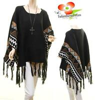 Black Western TX Cowgirl Wool Knit Poncho Fringe Pullover Oversized Sweater Top
