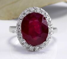 9.65 Carats Natural Red Ruby and Diamond 14K Solid White Gold Ring