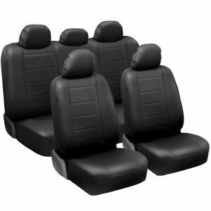 carXS Luxurious PU Leather Car Seat Covers, Full Set Front & Rear in Black