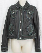 Wilson Leather Women Jacket Lg Floral Lined Country Punk Motorcycle Hip Trendy