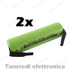 2X batteria litio li-ion icr lir 18650 3.7v 2600mAh con terminali a saldare tabs