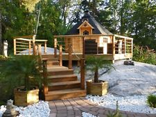 More details for 9m2 bbq kota grill log cabin in 44mm logs summerhouse garden shed structure
