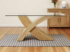 Dining Table Glass Top Oak X Cross Legs Dining Room Furniture 160 cm Modern